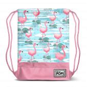 Saco mochila com cordões 48cm Oh My Pop Florida flamingos