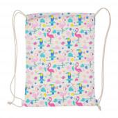 Saco mochila com cordões Flamingo