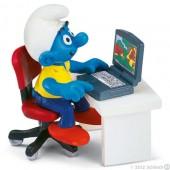 Smurf com Portátil (with Laptop) - Colecção Super Smurfs