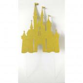 Topper Bolo Castelo Princesas Dourado Glitter