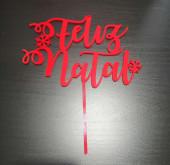 Topper de Bolo Feliz Natal Acrílico Vermelho