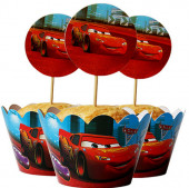 Toppers + Invólucros Cupcakes Cars - 12 und