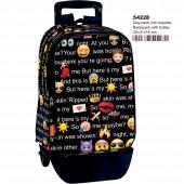 Trolley Mochila Escolar 42 cm Emoji Talk