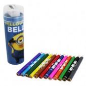 Tubo c/ 12 lápis cores e afia Minions