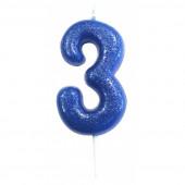 Vela Aniversário Azul Glitter Nº 3