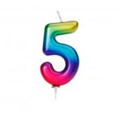 Vela Aniversário Nº5 Metálica Rainbow