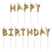 Velas Douradas Happy Birthday