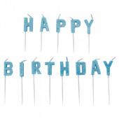 Velas Happy Birthday Azul Glitter